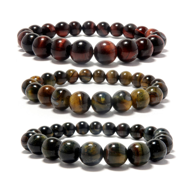 Tigers Eye Medley Bracelet 7mm Set - Blue Hawks Eye, Golden Brown, Red Stone Stretch Trio B01
