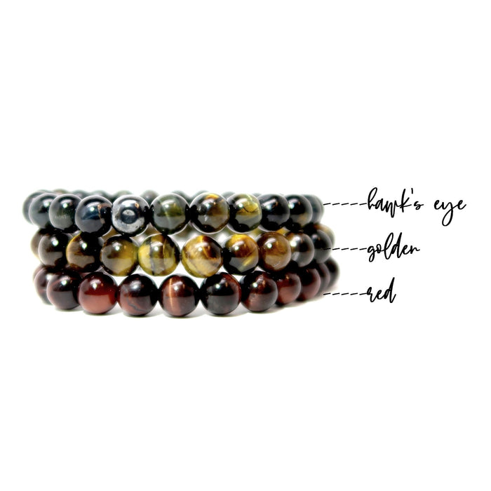 red, golden, and blue tigers eye beaded stretch bracelet set