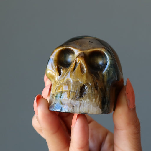 hand holding a brown tigers eye skull