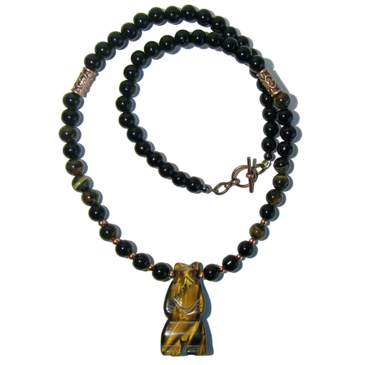 Tigers Eye Bear Necklace Golden Brown Animal Beaded Black Obsidian