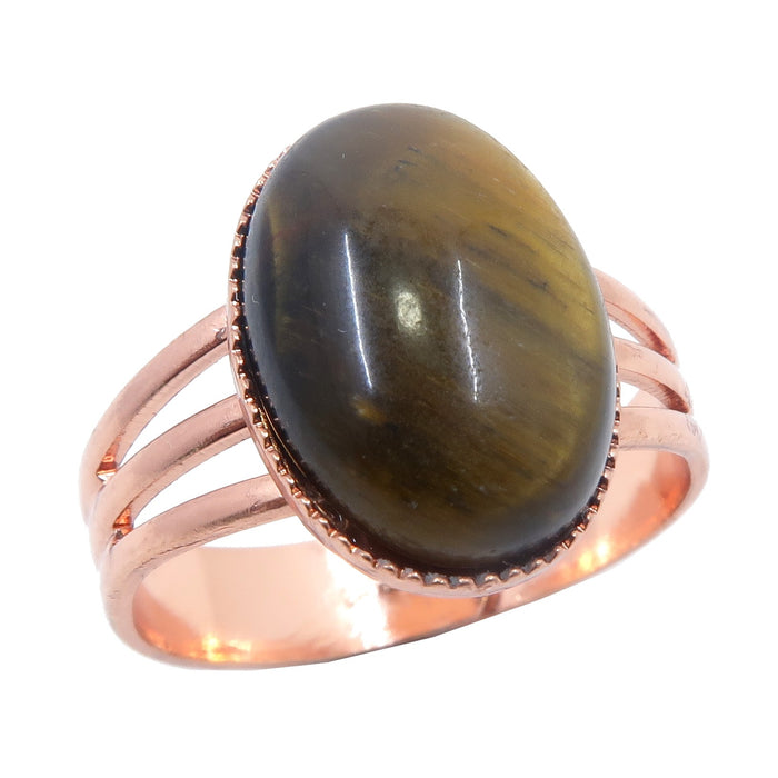 golden tigers eye oval in copper adjustable ring
