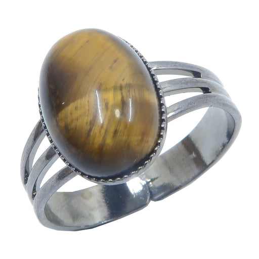 Tigers Eye Golden Ring 4-10 Boutique Brown Oval Healing Stone Adjustable B01 (Gunmetal)