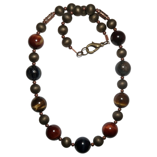 golden, blue and red tigers eye on antiqued beaded necklace