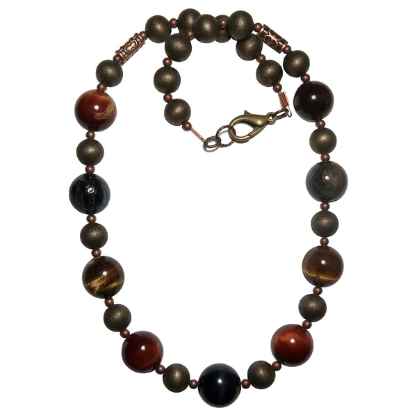 Tigers Eye Medley Necklace Boutique Chunky Rustic Round Brown Red Blue Hawks Eye B01
