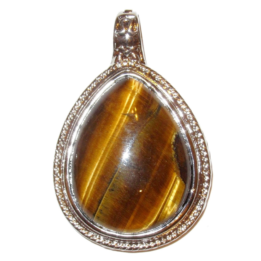 "Tigers Eye Pendant 2.3"" Supreme Golden Brown Big Teardrop Crystal Stone Silver Charm 01"