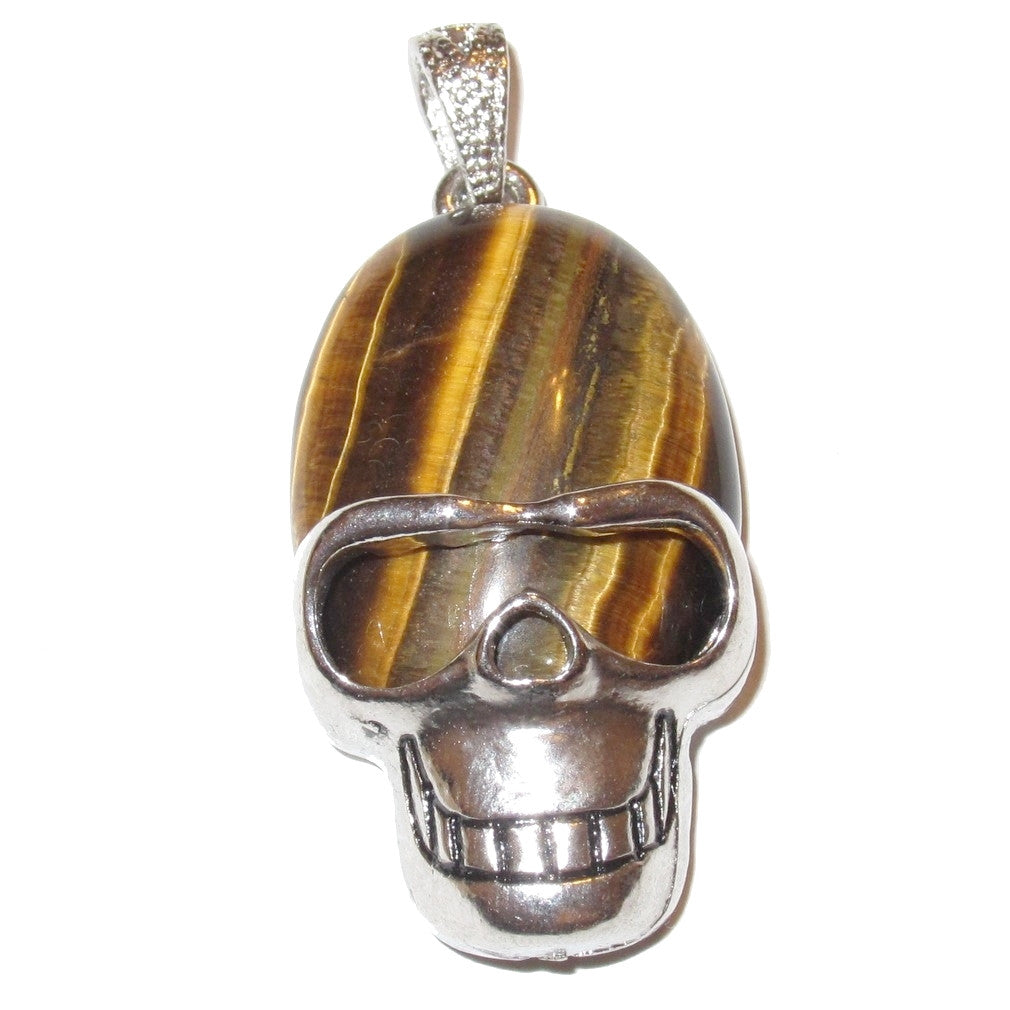 Tigers Eye Pendant 03 Cool Aviator Skull Crystal Courage Golden Brown Protection Stone 2""