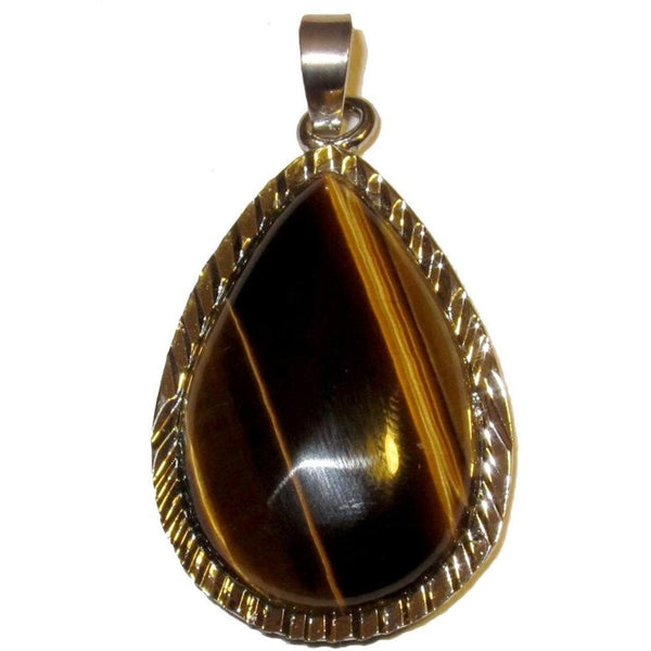 "Tigers Eye Pendant 1.8"" Supreme Striped Teardrop Golden Brown Crystal Silver Frame 05"