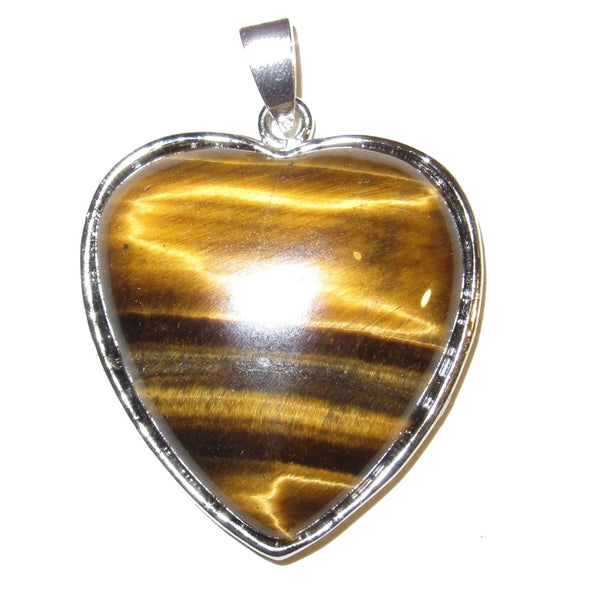 Tigers Eye Pendant 30 Crystal Heart Pendant Silver Metal Frame Golden Stone Love 1.7""