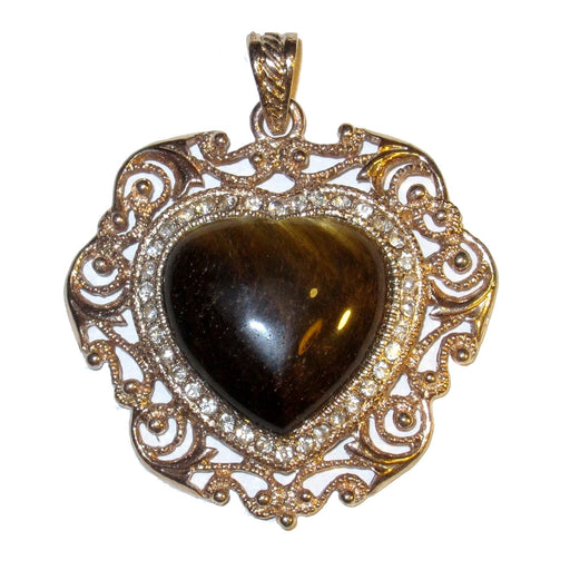 brown tigers eye heart in fancy silver pendant frame