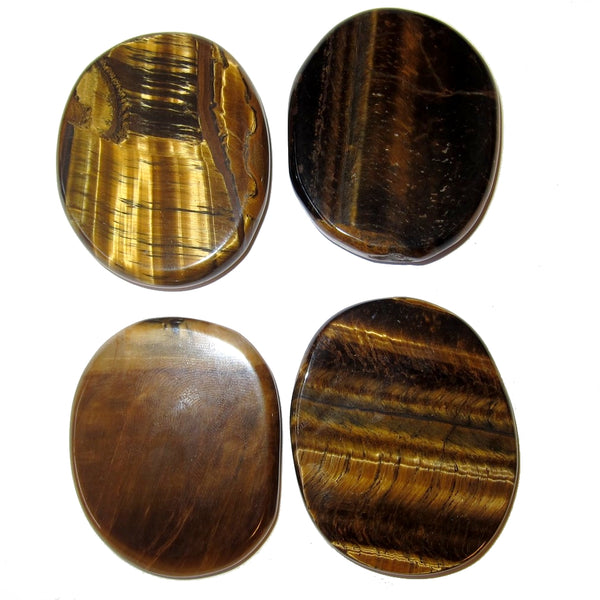 "Tiger's Eye Polished Stone 1.8"" Premium Set of 4 Golden Brown Iridescent Oval P01"