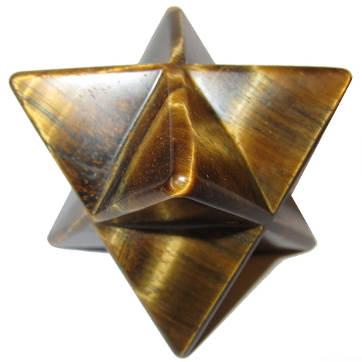 Tigers Eye Golden Polygon Merkaba Star Dapper Brown Courage Stone P03