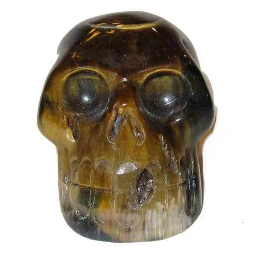 "Tigers Eye Skull 2.8"" Collectible Big Brown Beauty Cluster Style Stone Classic Statue Healing Gem C06"