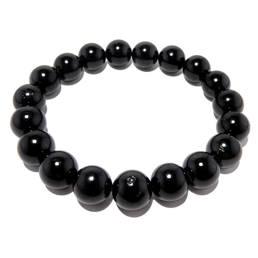 Tourmaline Black Bracelet 9mm Smooth Round Protection Stone Stretch