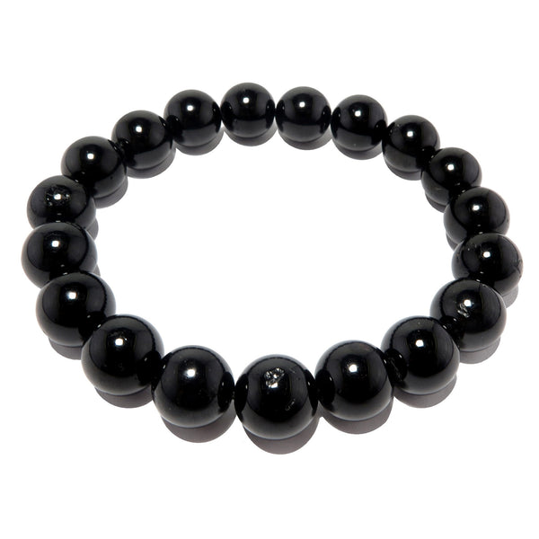 Tourmaline Black Bracelet 9mm Smooth Round Black Protection Stone Crystal Stretch B01