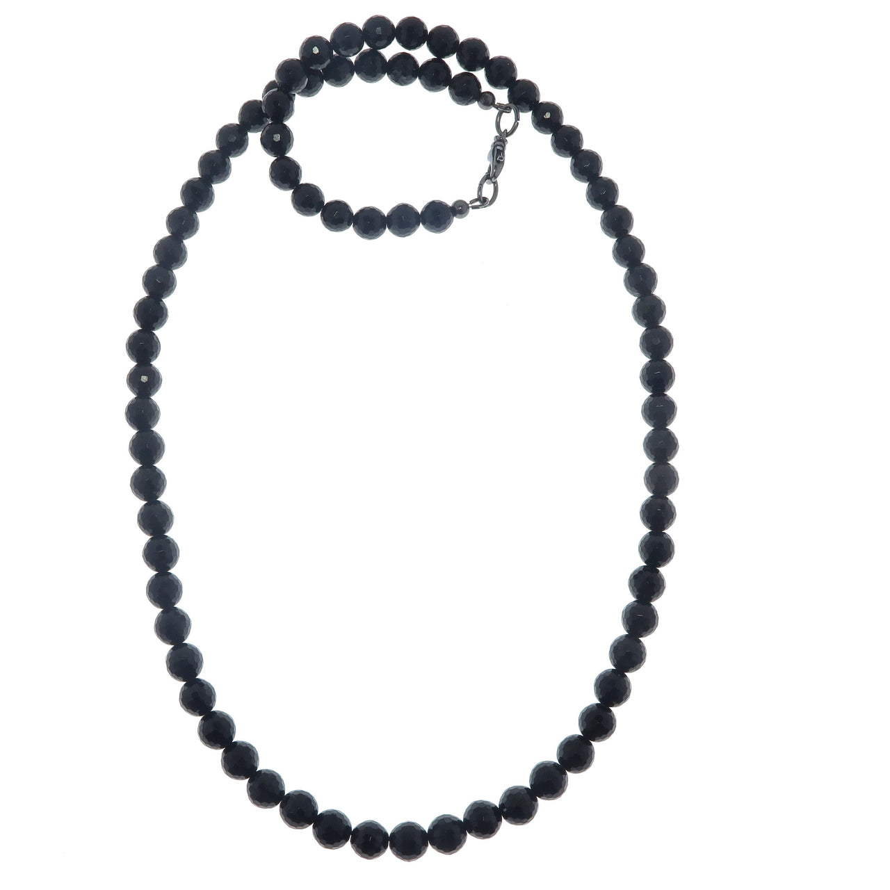 Tourmaline Black Necklace 7mm Boutique Faceted Fancy Gemstone Round Sparkling B02