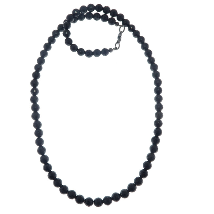 Tourmaline Faceted Black Necklace Fancy Sparkling Beaded Round Gemstones