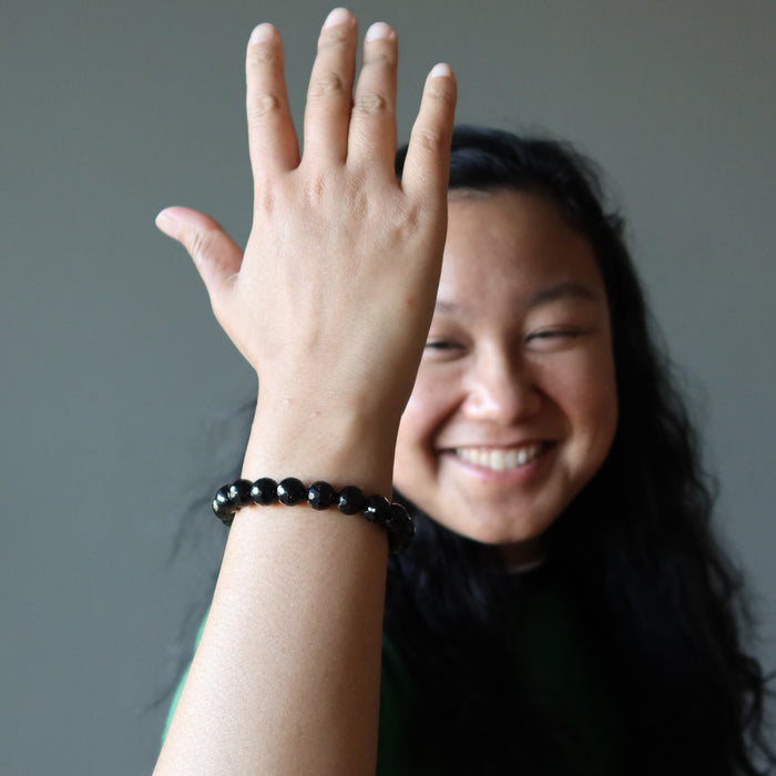 jessica of satin crystals wearing a faceted black tourmaline stretch bracelet