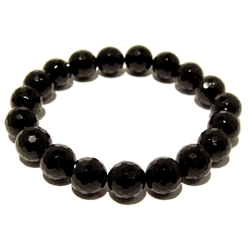 faceted black tourmaline stretch bracelet