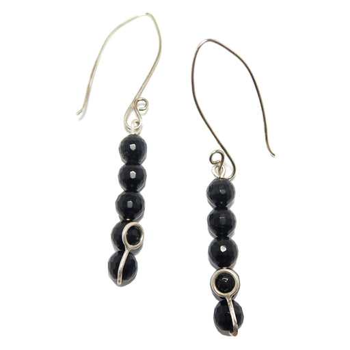 Tourmaline Earrings Black Faceted Gemstones Fine Sterling Silver