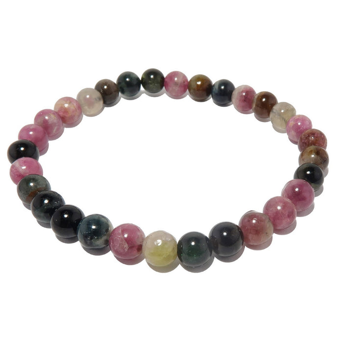 5mm rainbow tourmaline beaded bracelet