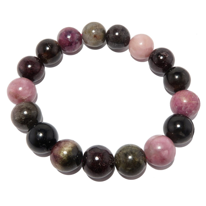 Tourmaline Rainbow Bracelet 11mm Round Best Pink Black Gemstone Stretch