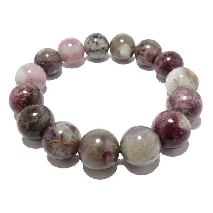 Tourmaline Rubellite Bracelet 11mm Round Pink White Gemstone Stretch