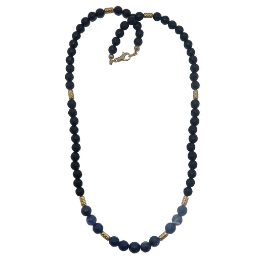 faceted black tourmaline and blue sodalite necklace