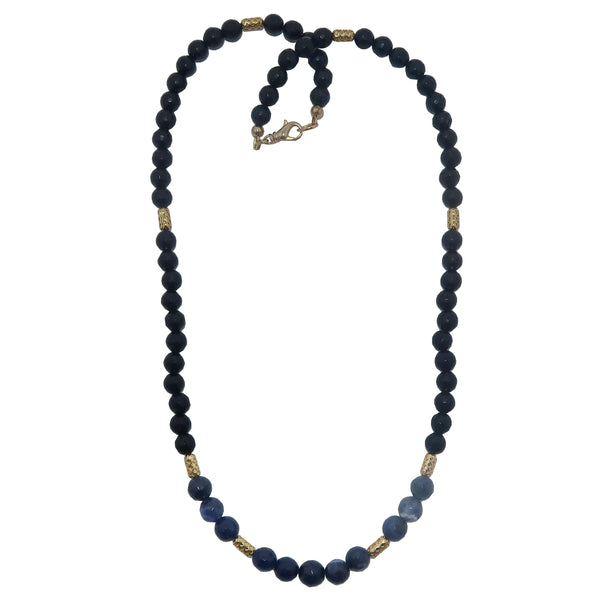 Tourmaline Black Necklace Boutique Faceted Gemstone Blue Sodalite Beaded Sparkling B01