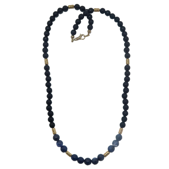 Tourmaline Sodalite Necklace Faceted Black Blue Sparkling Gemstone Beaded
