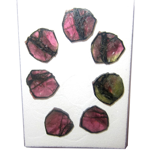 Tourmaline Pink Polished Stone 15mm Collectible Set of 7 Slices from One Precious Gemstone C50