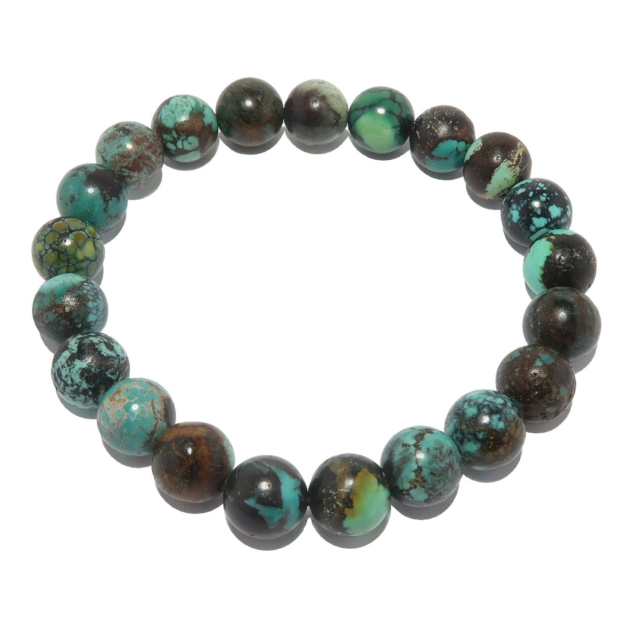 Turquoise Bracelet 7mm Genuine Blue Black Gemstone Round Crystal Healing Stretch B01