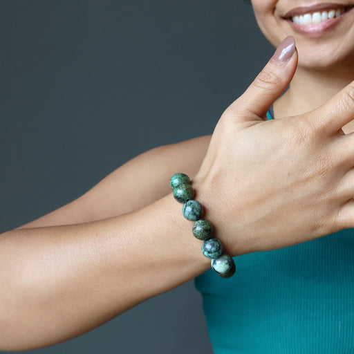 african turquoise bracelet on female model