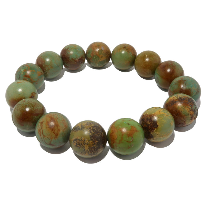 green and brown turquoise jasper round beaded stretch bracelet