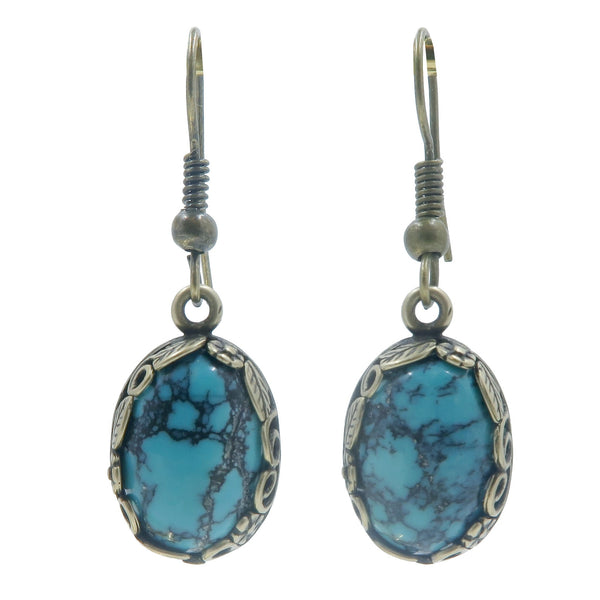 Turquoise Earrings Boutique Blue-Green Oval Gemstone Antiqued Leaf Dangle Stones B01