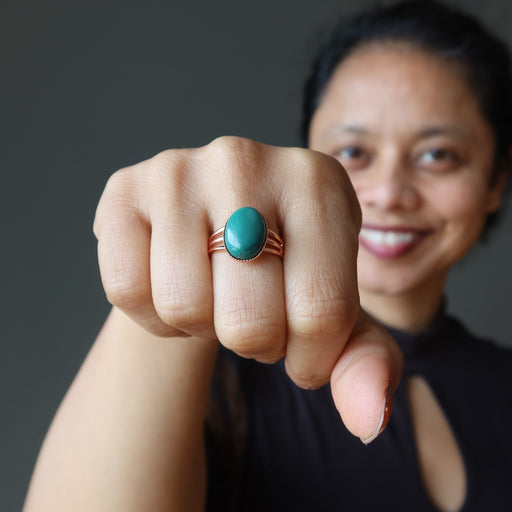 sheila of satin crystals wearing a turquoise copper ring