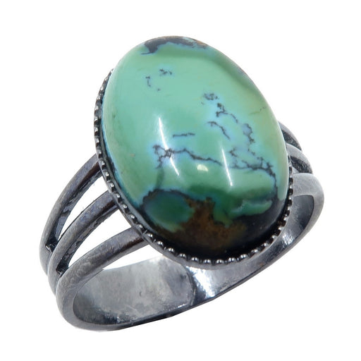 blue green turquoise oval in gunmetal ring
