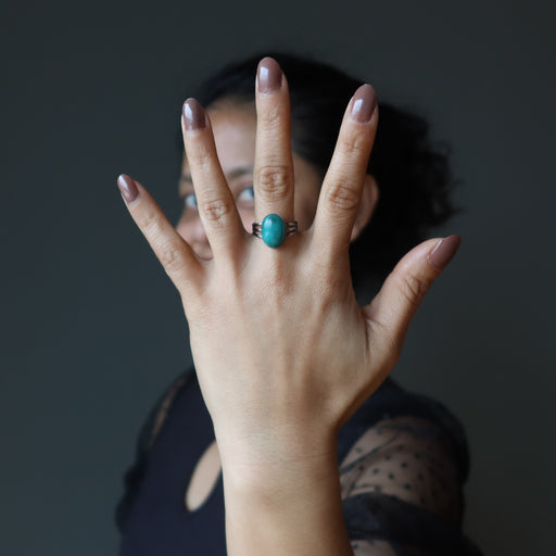 sheila of satin crystals wearing turquoise ring