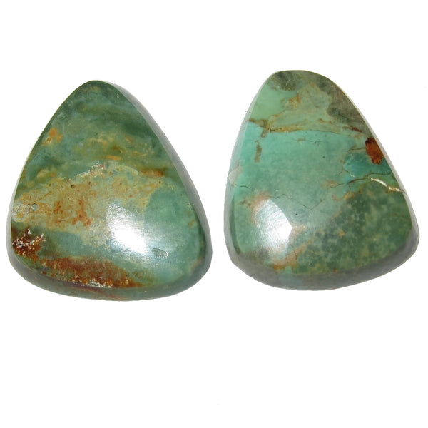 "Turquoise Cabochon Collectible Pair of Rare Green Old Kingman Mine Gemstones C51 (1.1"" Land)"