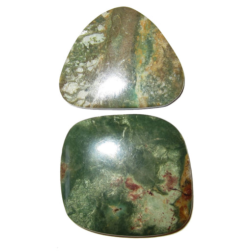 "Turquoise Cabochon Collectible Pair of Rare Green Old Kingman Mine Gemstones C51 (1.3""Army)"