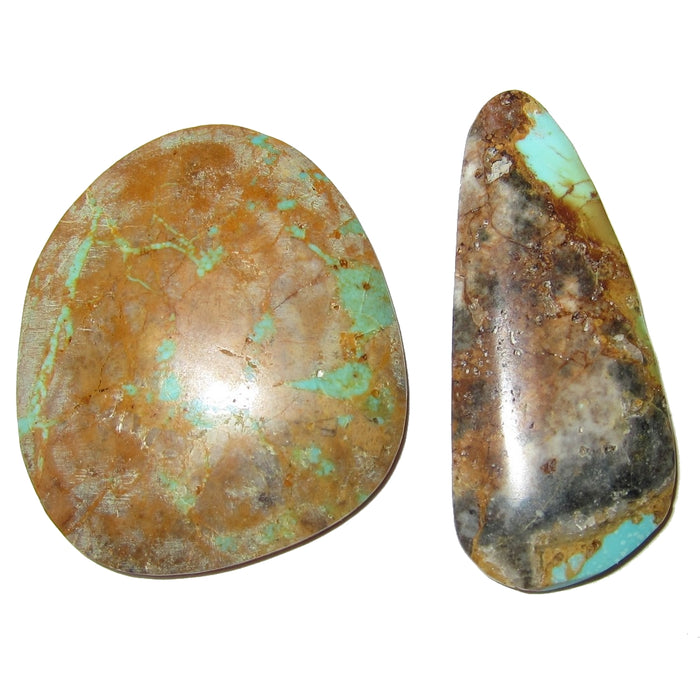 "Turquoise Cabochon 1.75"" Collectible Pair of Green Brown Royston Mine Nevada Crystals C54"