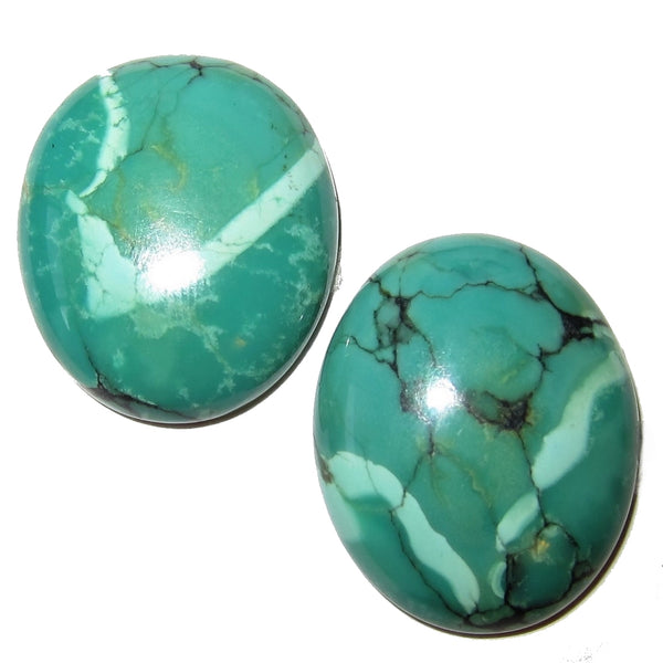 Turquoise Cabochon Collectible Pair of Oval Polished Gemstones Tibetan C55 (24mm V-Birds)