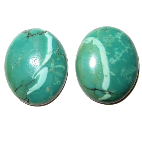 Turquoise Cabochon Collectible Pair of Oval Polished Gemstones Tibetan C55 (25mm Streamers)