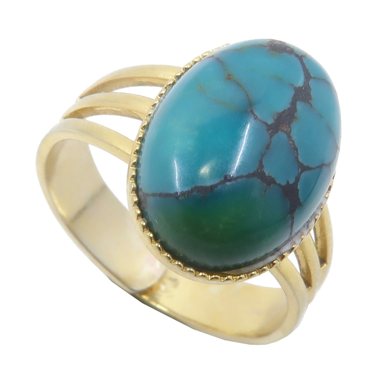 Turquoise Ring 4-10 Boutique Blue Green Gemstone Oval Adjustable B01 (Gold)