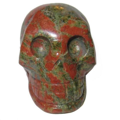 Unakite Skull 02 Crystal Carving Green Orange Psychic Communication Stone Statue