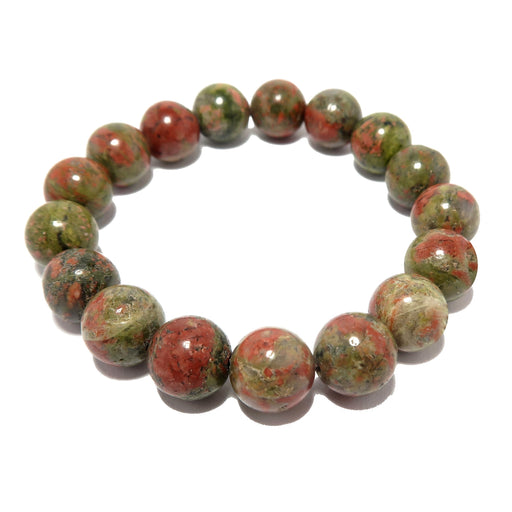 pink and green round unakite beaded stretch bracelet