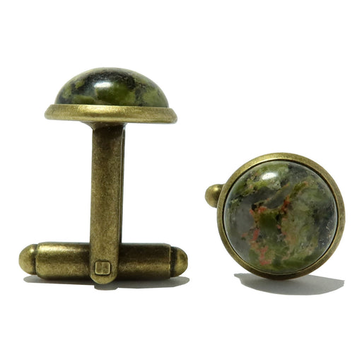 unakite stone antique bronze cufflinks