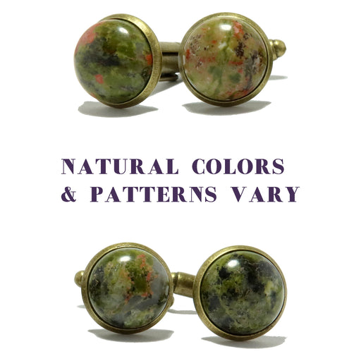 Unakite Cufflinks Antique Bronze 12mm Natural Pink Green Round Gemstone