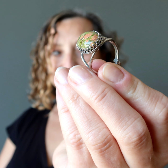 Sterling silver Unakite ring