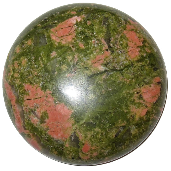 "Unakite Cabochon 1.5"" Boutique Green Pink Round Circle Medallion Stone B01"