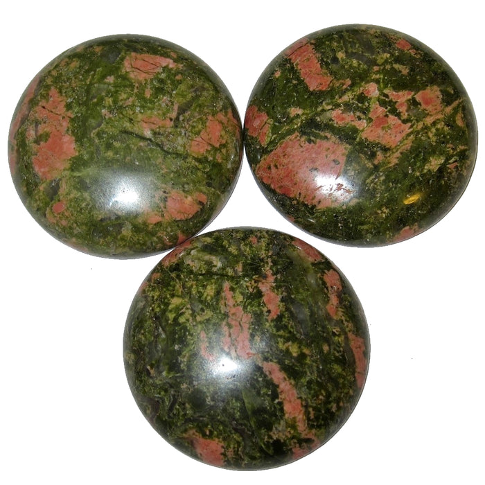 Unakite Cabochon Boutique Green Pink Round Circle Medallion Stone